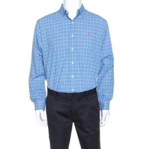Ralph Lauren Blue Plaid Cotton Button Down Collar Shirt L
