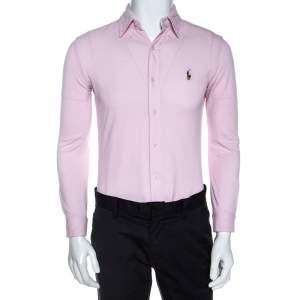 Ralph Lauren Pink Cotton Knit Slim Fit Oxford Shirt S