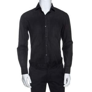 Ralph Lauren Charcoal Grey Cotton Faded Effect Long Sleeve Shirt S