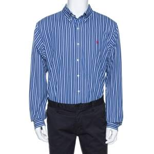 Ralph Lauren Blue Striped Cotton Custom Fit Shirt XL