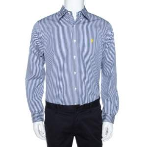 Ralph Lauren Blue & White Striped Cotton Button Down Shirt M