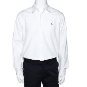 Ralph Lauren White Cotton Button Down Custom Fit Shirt L