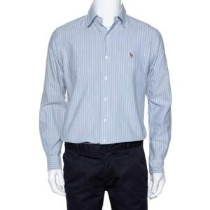Ralph Lauren Light Blue Striped Cotton Custom Fit Shirt M
