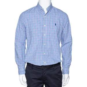 Ralph Lauren Blue Checked Cotton Long Sleeve Button Down Shirt M