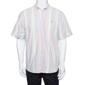 Ralph Lauren White Striped Cotton Short Sleeve Shirt XL