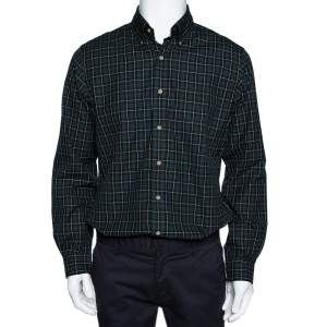 Ralph Lauren Green Checked Cotton Custom Fit Shirt M