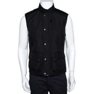 Ralph Lauren Black Leather Trim Vest Jacket M