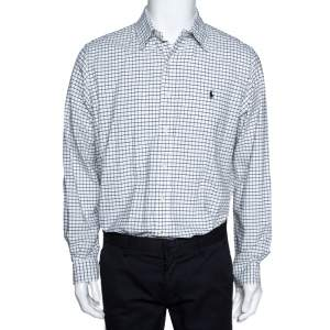 Ralph Lauren Black & White Window Pane Checked Cotton Shirt L