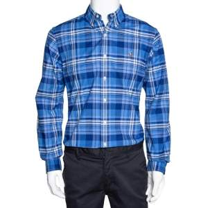 Ralph Lauren Blue Plaid Checked Stretch Oxford Slim Fit Shirt M