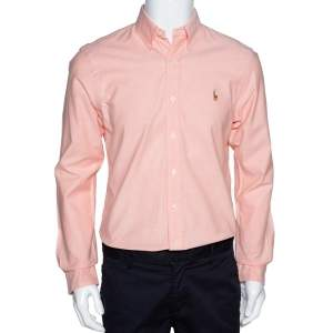 Ralph Lauren Light Orange Stretch Oxford Slim Fit Shirt M