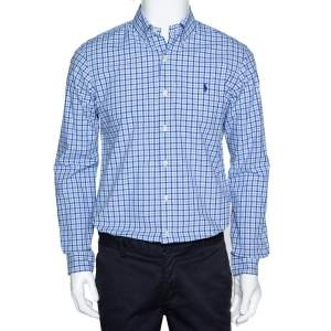 Ralph Lauren Blue Gingham Check Cotton Long Sleeve Shirt M