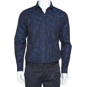 Ralph Lauren Navy Blue Camo Pattern Cotton Long Sleeve Shirt M