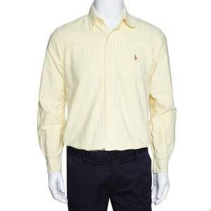 Ralph Lauren Light Yellow Striped Cotton Long Sleeve Shirt M