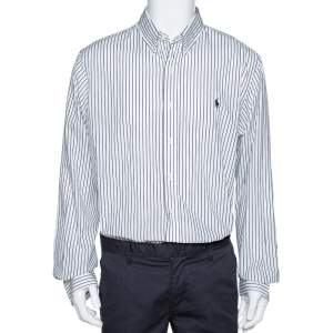 Ralph Lauren Monochrome Striped Cotton Button Front Shirt XL