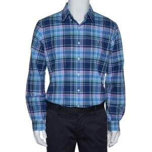 Ralph Lauren Blue Madras Check Cotton Long Sleeve Shirt L