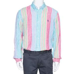 Ralph Lauren Multicolor Striped Linen Button Down Long Sleeve Shirt L