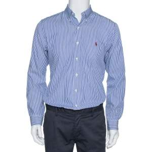 Ralph Lauren Blue Striped Cotton Long Sleeve Slim Fit Shirt M