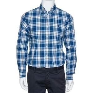 Ralph Lauren Indigo Plaid Check Cotton Oxford Long Sleeve Shirt S