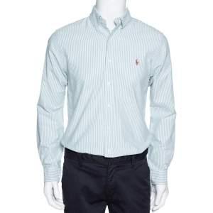 Ralph Lauren Green Striped Cotton Button Down Slim Fit Shirt M