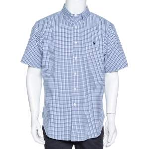 Ralph Lauren Blue Checked Cotton Short Sleeve Shirt L