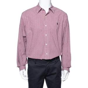Ralph Lauren Red Gingham Check Cotton Long Sleeve Shirt XL