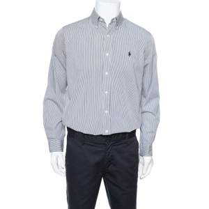 Ralph Lauren Monochrome Striped Cotton Long Sleeve Shirt M