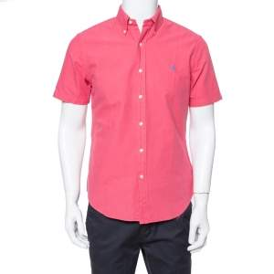 Ralph Lauren Coral Pink Cotton Short Sleeve Slim Fit Shirt M