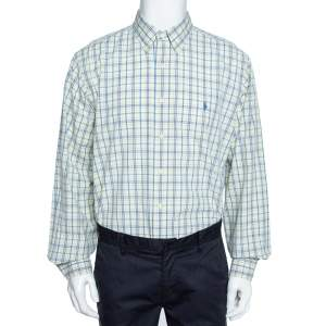 Ralph Lauren Pale Yellow Checked Cotton Button Down Shirt 3XL