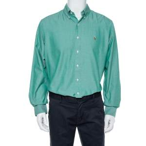 Ralph Lauren Green Chambray Cotton Classic Fit Shirt XL