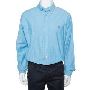 Ralph Lauren Blue Cotton Button Front Slim Fit Oxford Shirt XL