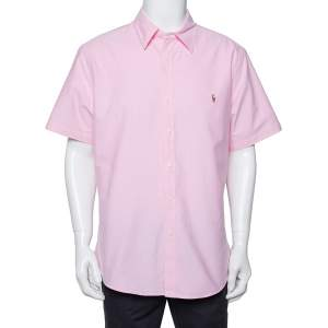 Ralph Lauren Light Pink Cotton Short Sleeve Slim Fit Shirt XXL