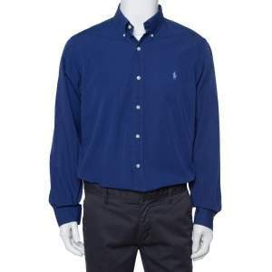Ralph Lauren Navy Blue Cotton Button Front Shirt L