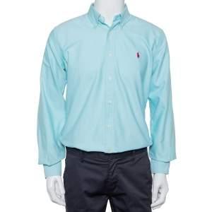 Ralph Lauren Blue Cotton Button Front Custom Fit Shirt M