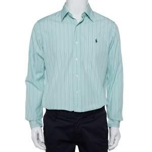 Ralph Lauren Green Striped Cotton Button Front Custom Fit Shirt M