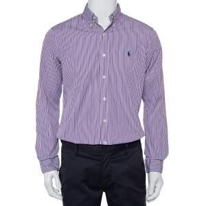 Ralph Lauren Purple Striped Cotton Button Front Custom Fit Shirt M