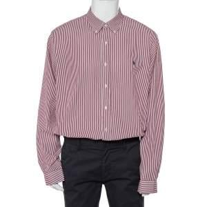Ralph Lauren Burgundy Striped Cotton Logo Embroidered Button Front Shirt XXL