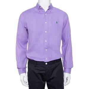Ralph Lauren Purple Cotton Button Front Custom Fit Shirt M
