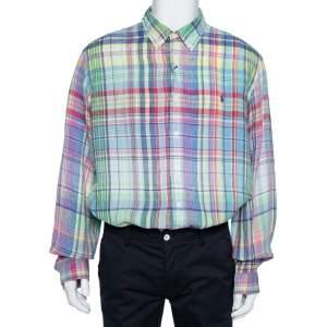 Ralph Lauren Multicolor Checkered Ocean Wash Linen Slim Fit Shirt XXL