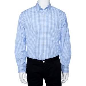 Ralph Lauren Blue Checkered Cotton Button Front Shirt XL
