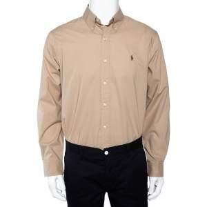 Ralph Lauren Beige Cotton Button Front Shirt L