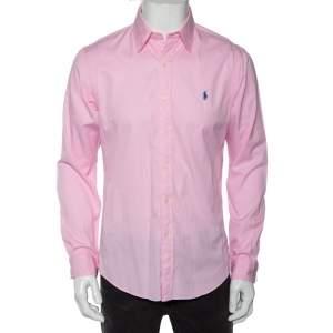 Ralph Lauren Pink Feather Weight  Cotton Twill Slim Fit Shirt M
