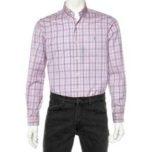 Ralph Lauren Pink Checked Cotton Long Sleeve Classic Fit Shirt S