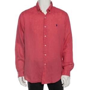 Ralph Lauren Pink Ocean Wash Linen Button Front Sport Shirt L