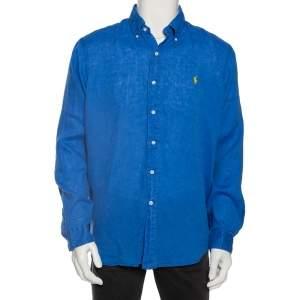 Ralph Lauren Blue Ocean Wash Linen Button Front Sport Shirt L