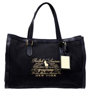 Ralph Lauren Black Canvas and Leather Shopper Tote