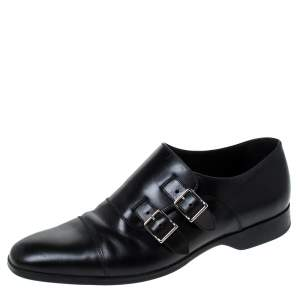 Ralph Lauren Black Leather Double Strap Monk Oxfords Size 42