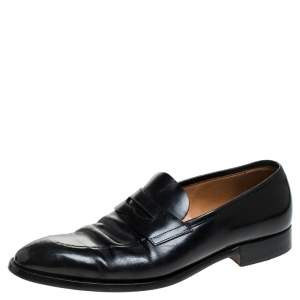 Ralph Lauren Black Leather Penny Loafers Size 44