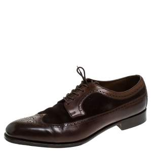 Ralph Lauren Brown Suede Leather Brogue Lace Up Oxfords Size 43.5