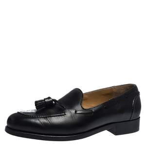 Ralph Lauren Black Leather Tassel Detail Loafers Size 44