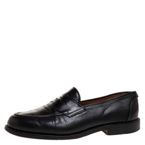 Ralph Lauren Black Leather Penny Slip On Loafers Size 42